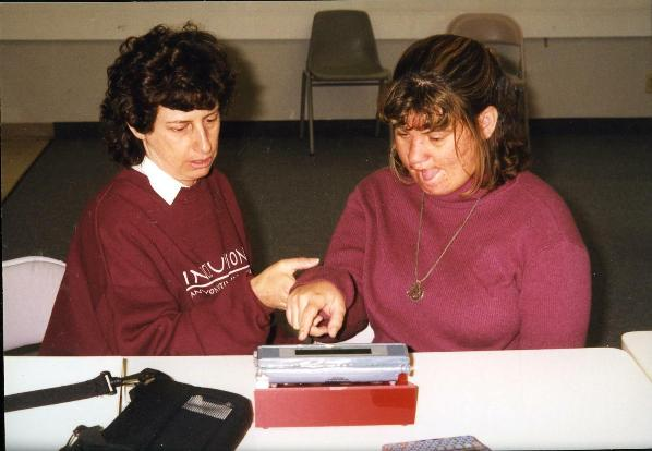 Rita Rubin facilitating Peyton typing to talk, Whittier, 1998