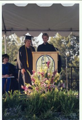 Peyton giving her Valedictorian Speech (read by Hollyn) at Cuyamaca College, 2002