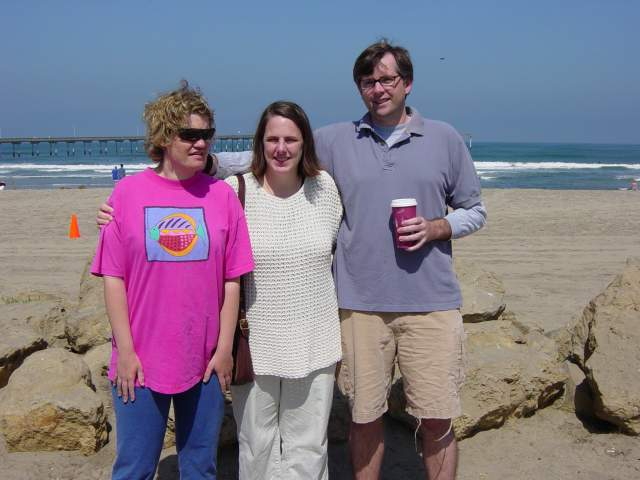 Peyton at the beach with her brother, Patrick, and sister-in-law, Ali
